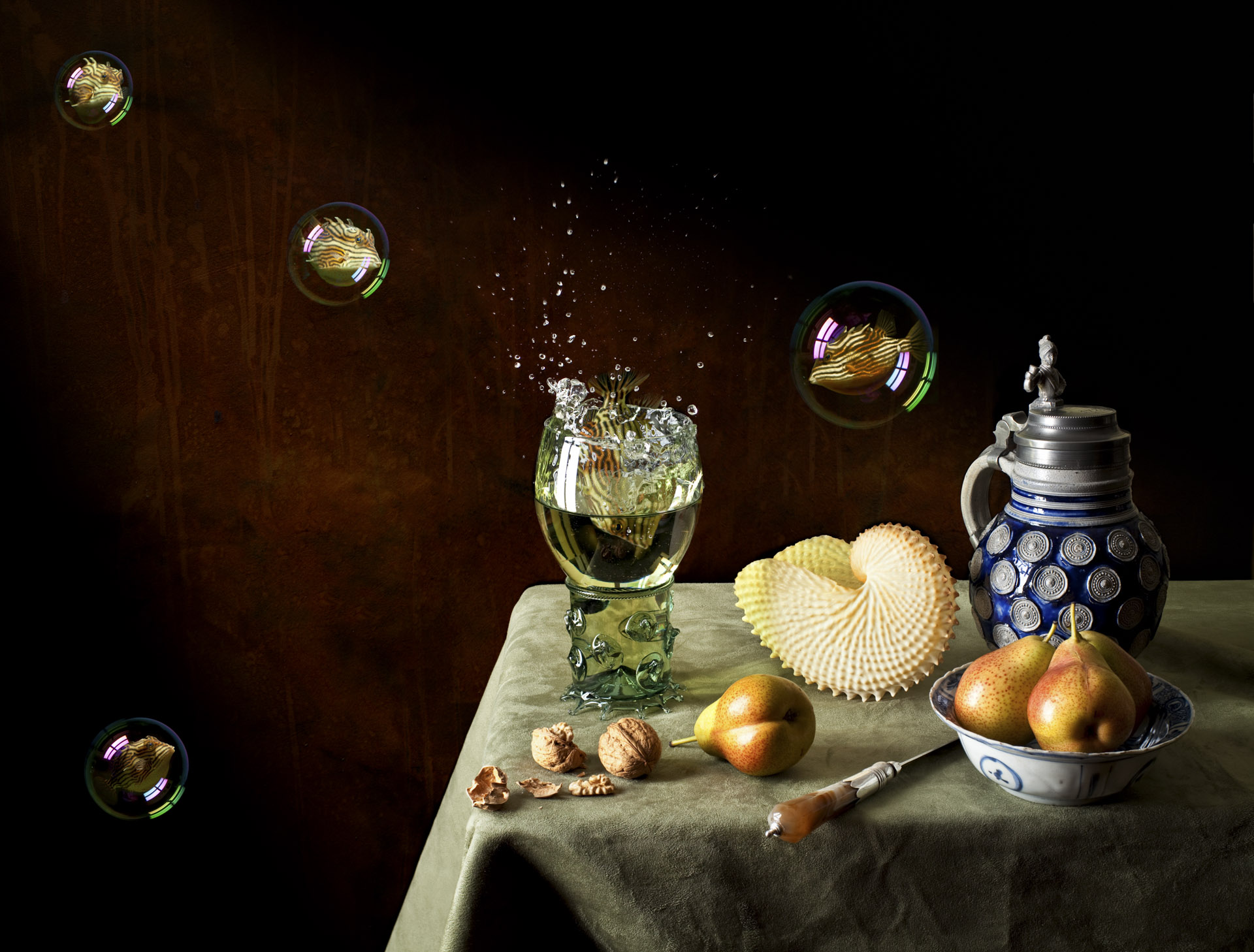 Still life with pears and soused cowfish