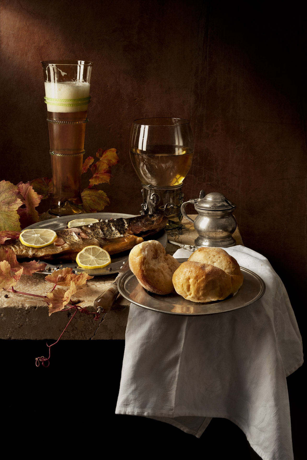 Still life with smoked fish