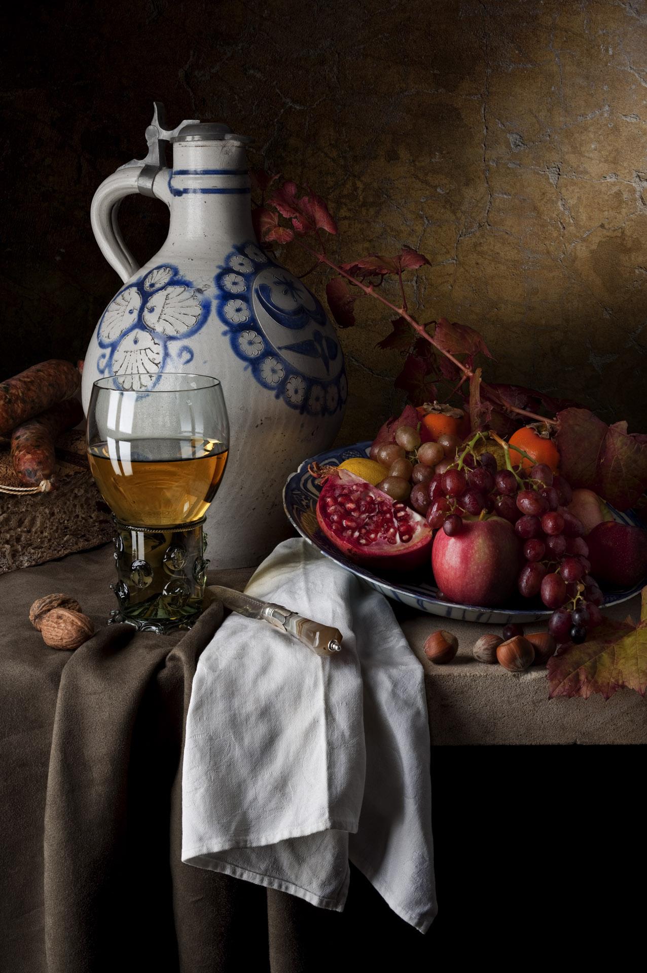 Still life with stoneware jug