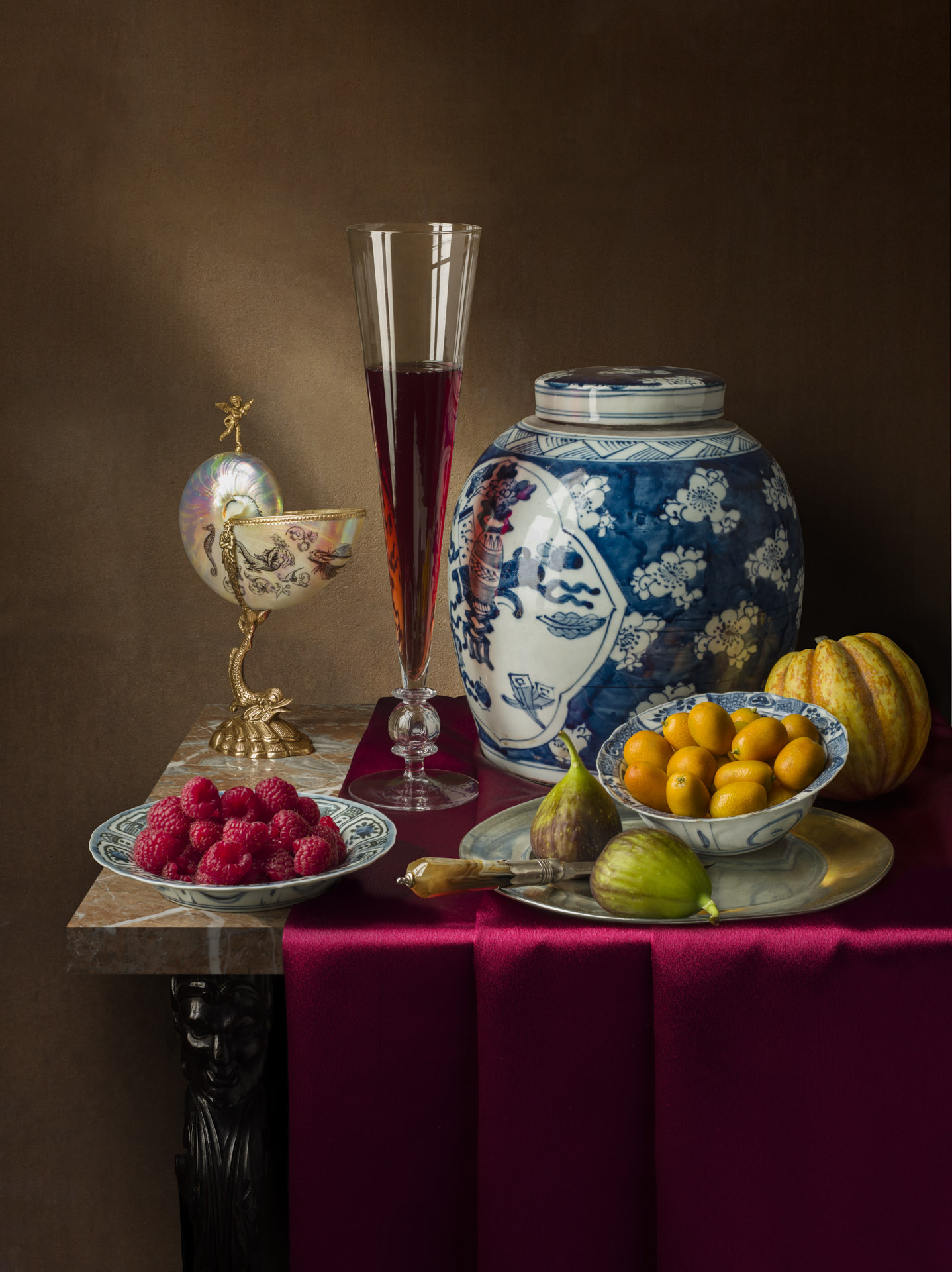 Still life with nautilus cup and ginger jar
