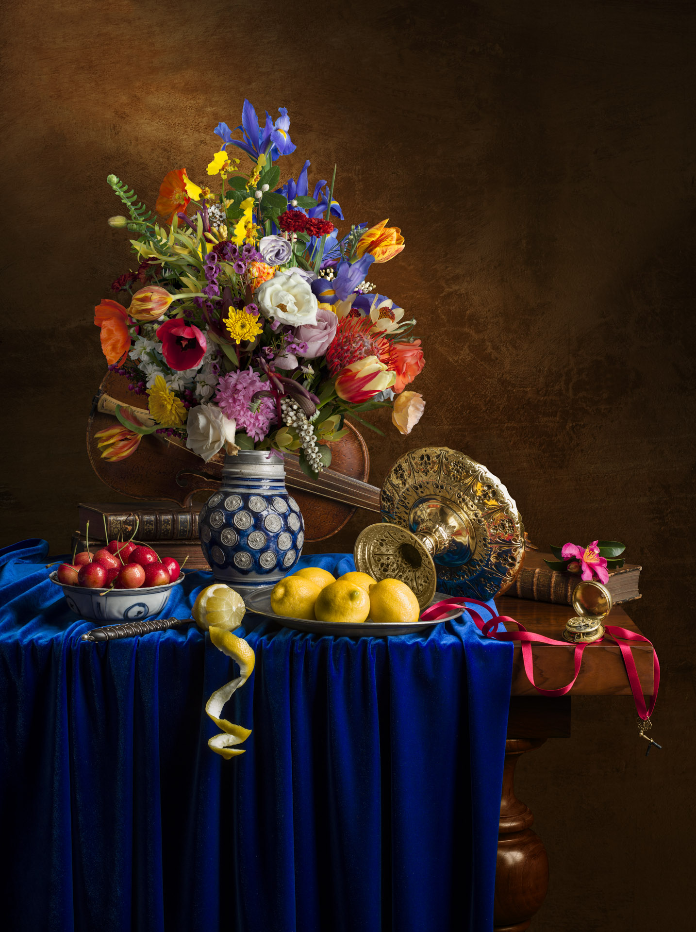 Still life with bouquet and tizza