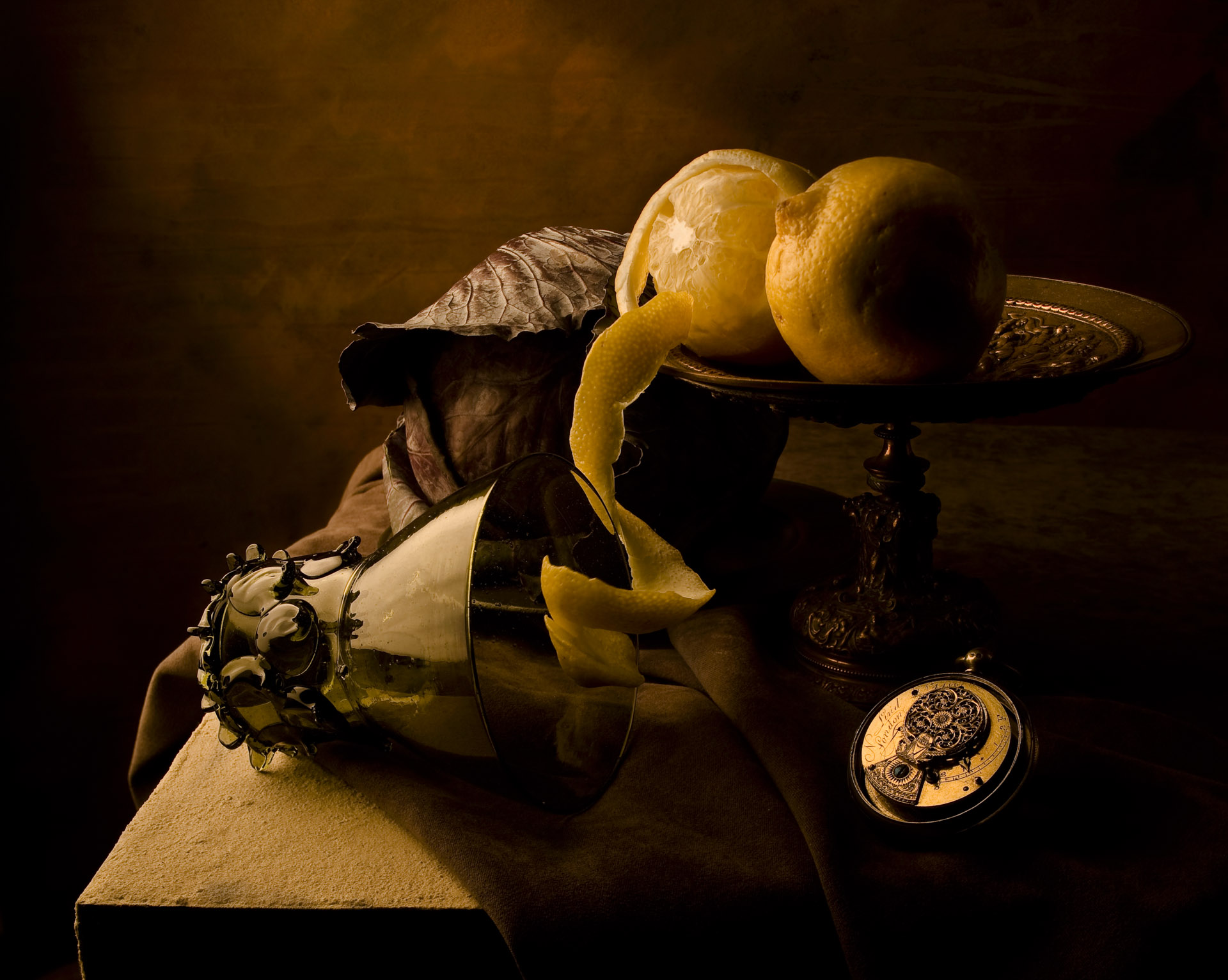 Still life with cabbage and lemons