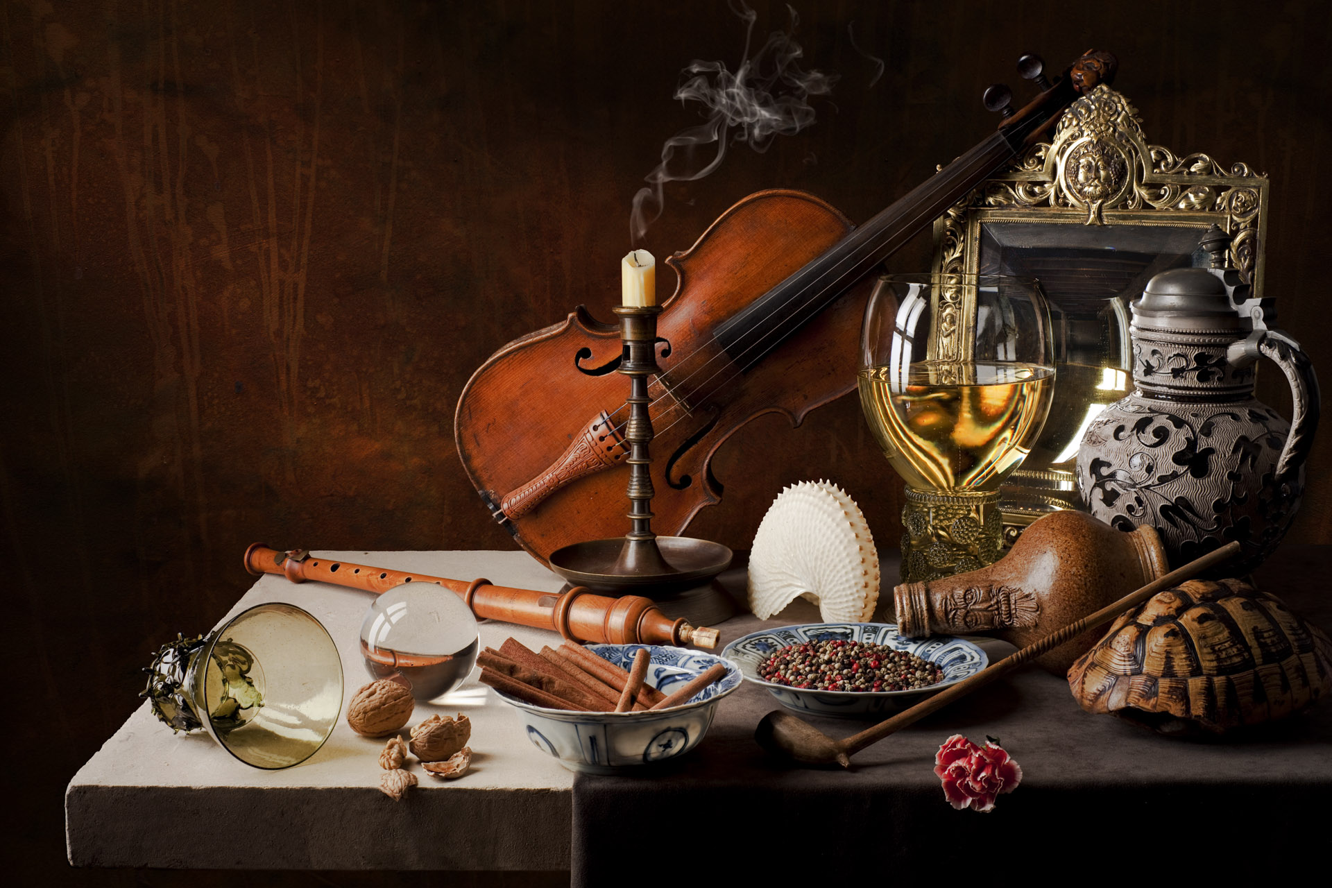 Still life with cinnamon and violin