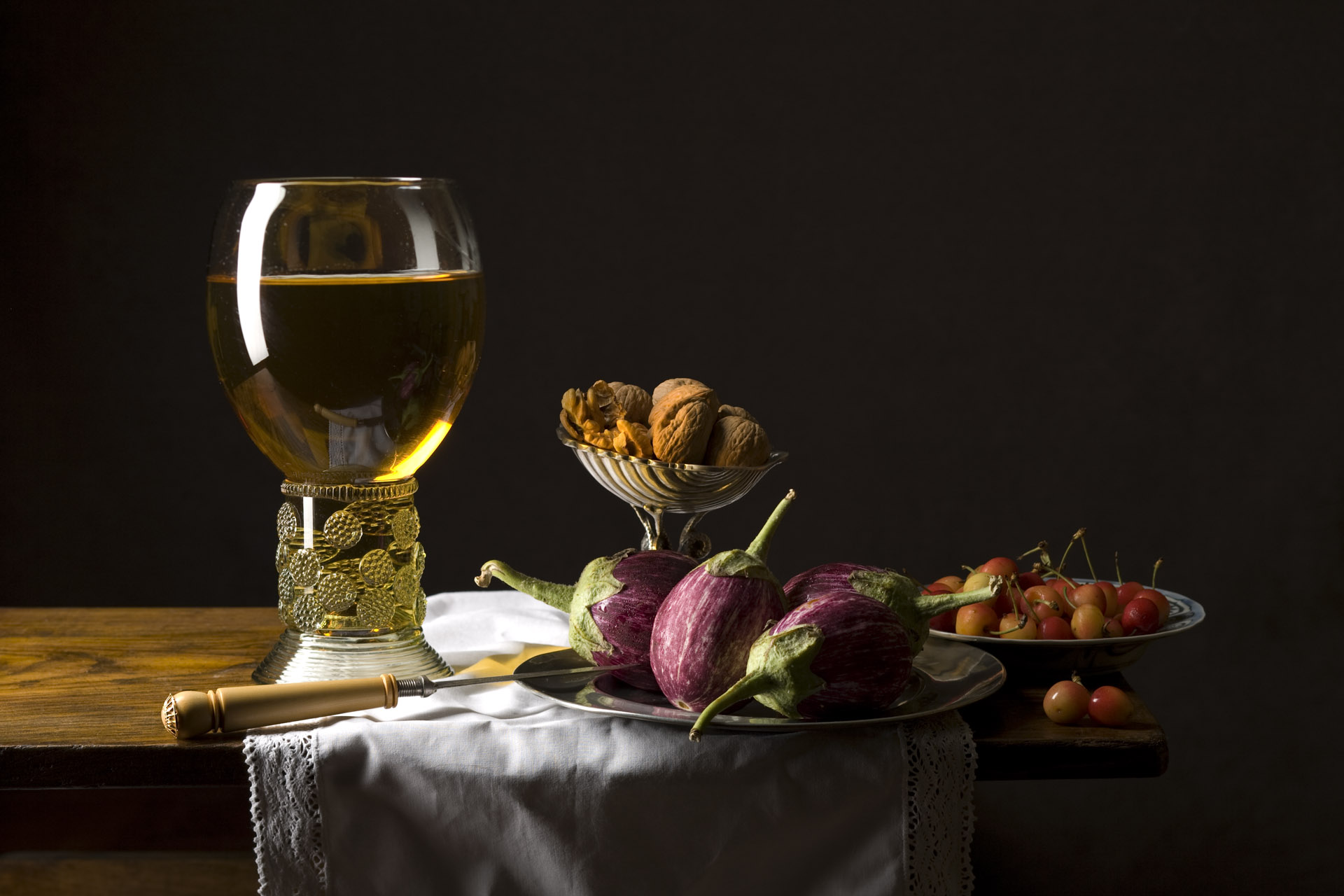 Still Life with nuts and eggplant