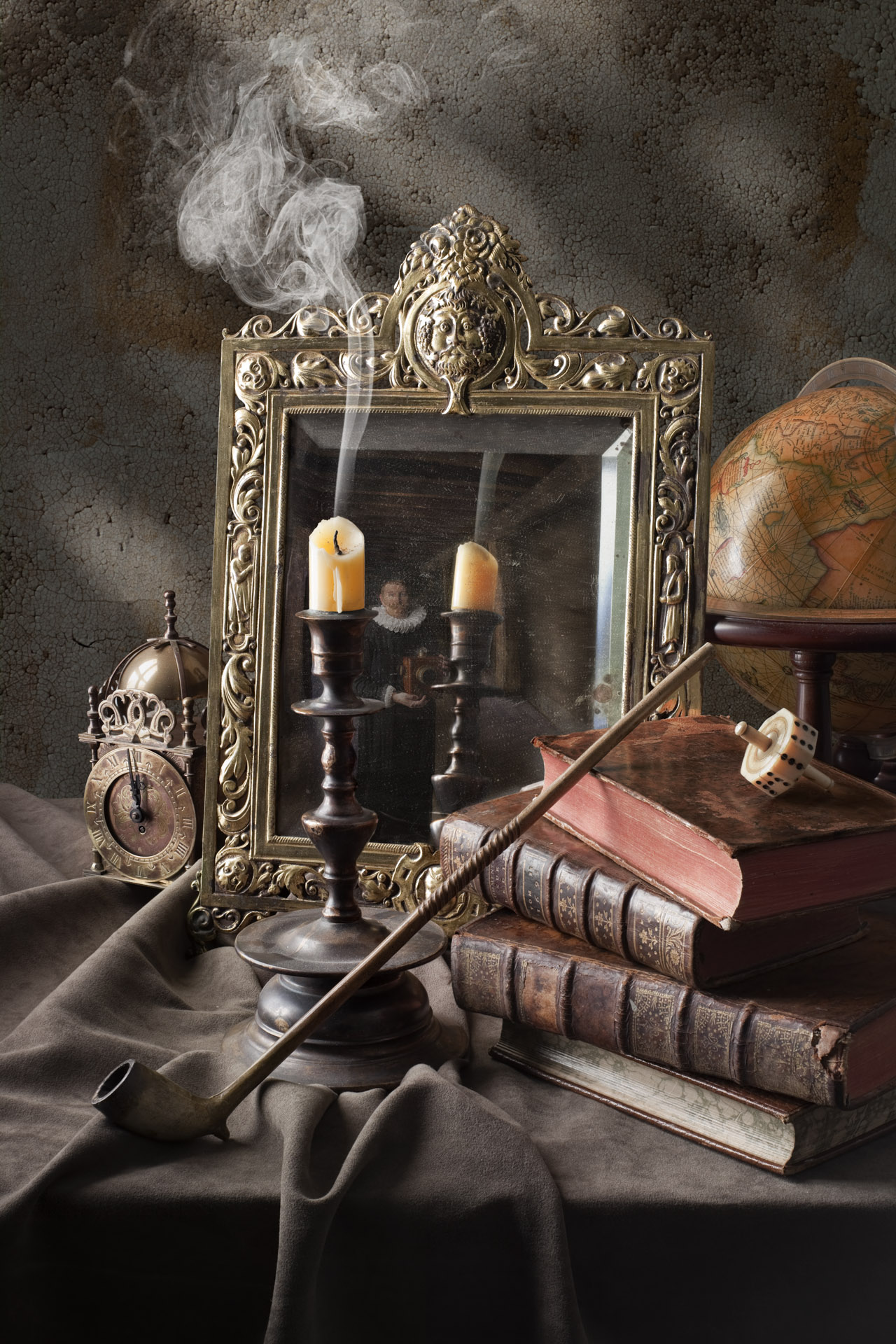 Still life with candle and mirror