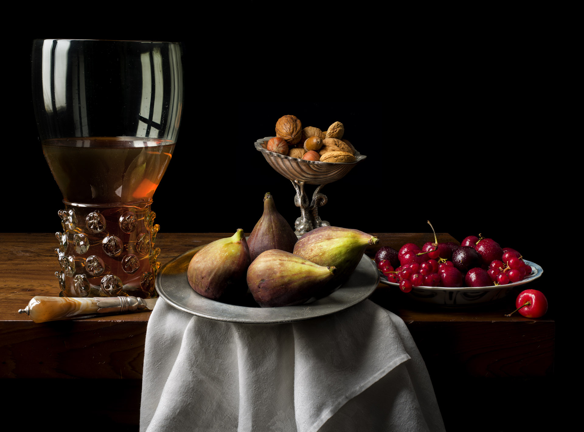 Still life with figs and cherries